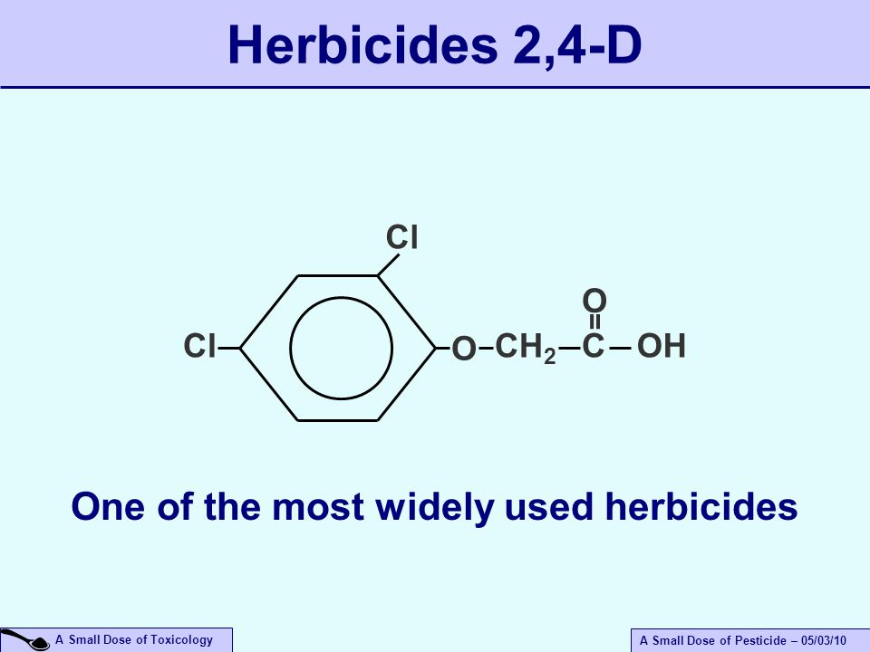 A Small Dose of Toxicology A Small Dose of Pesticide – 05/03/10 Herbicides 2,4-D Cl O CH 2 COH = O One of the most widely used herbicides