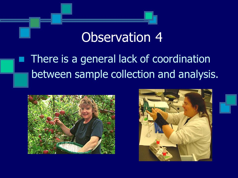Observation 4 There is a general lack of coordination between sample collection and analysis.