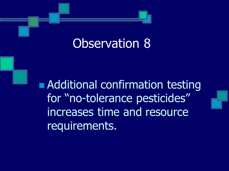 Observation 8 Additional confirmation testing for no-tolerance pesticides increases time and resource requirements.