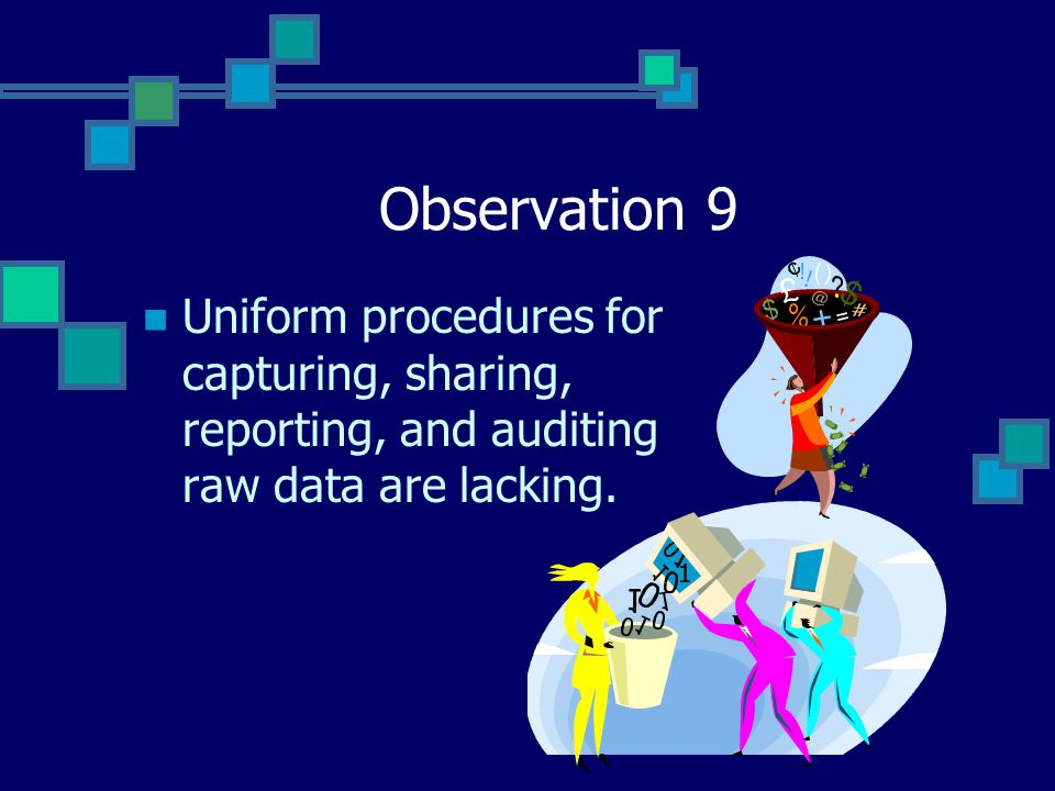 Observation 9 Uniform procedures for capturing, sharing, reporting, and auditing raw data are lacking.