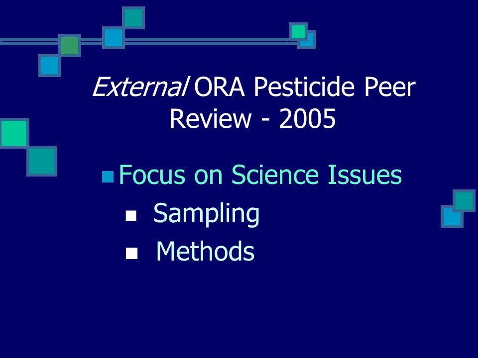 External ORA Pesticide Peer Review - 2005 Focus on Science Issues Sampling Methods