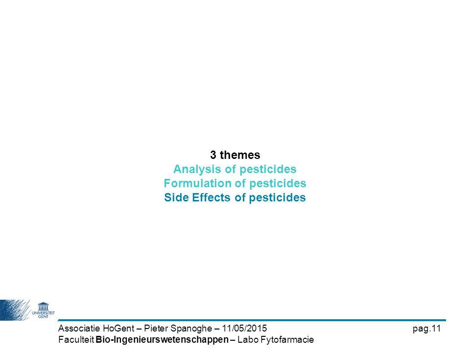 Associatie HoGent – Pieter Spanoghe – 11/05/2015pag.11 Faculteit Bio-Ingenieurswetenschappen – Labo Fytofarmacie 3 themes Analysis of pesticides Formu