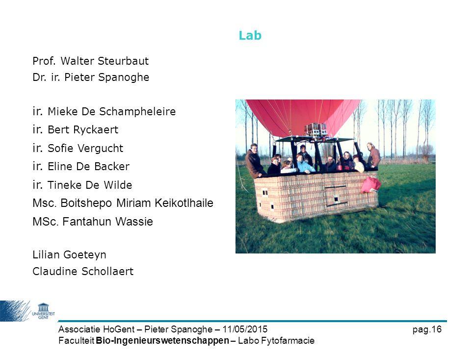 Associatie HoGent – Pieter Spanoghe – 11/05/2015pag.16 Faculteit Bio-Ingenieurswetenschappen – Labo Fytofarmacie Lab Prof. Walter Steurbaut Dr. ir. Pi