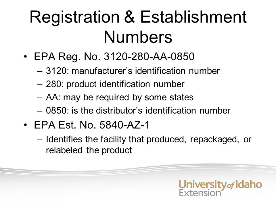 Registration & Establishment Numbers EPA Reg. No.