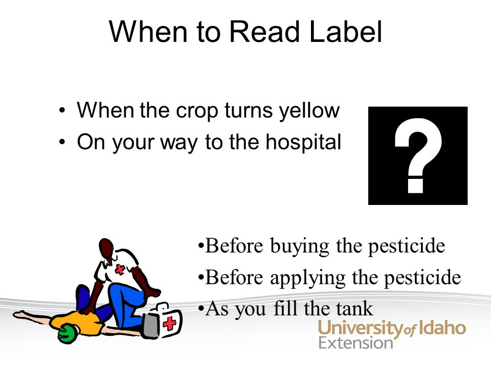 When to Read Label When the crop turns yellow On your way to the hospital Before buying the pesticide Before applying the pesticide As you fill the tank