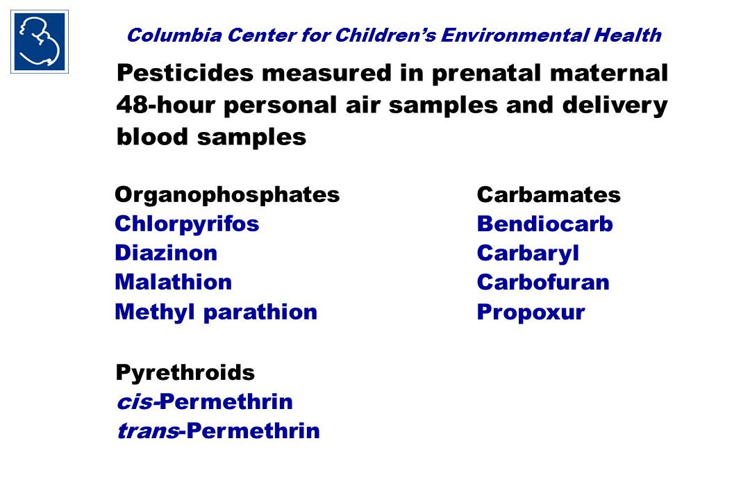 Columbia Center for Children's Environmental Health Pesticides measured in prenatal maternal 48-hour personal air samples and delivery blood samples Organophosphates Chlorpyrifos Diazinon Malathion Methyl parathion Carbamates Bendiocarb Carbaryl Carbofuran Propoxur Pyrethroids cis-Permethrin trans-Permethrin