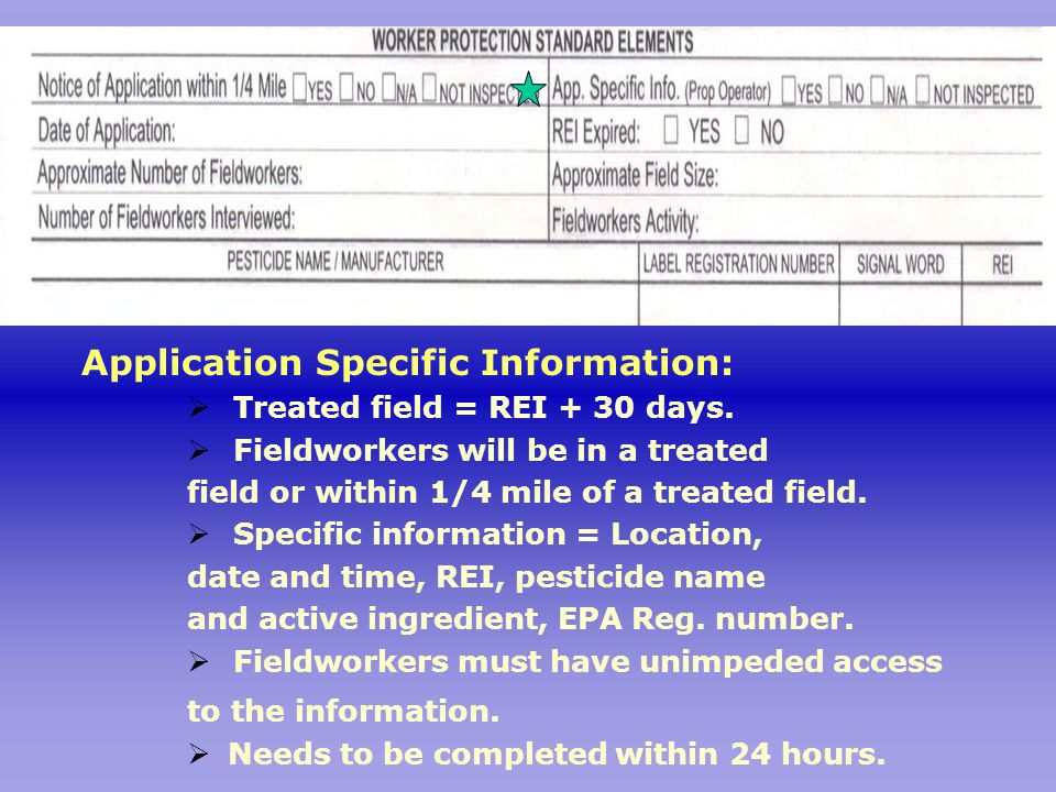 Application Specific Information:  Treated field = REI + 30 days.