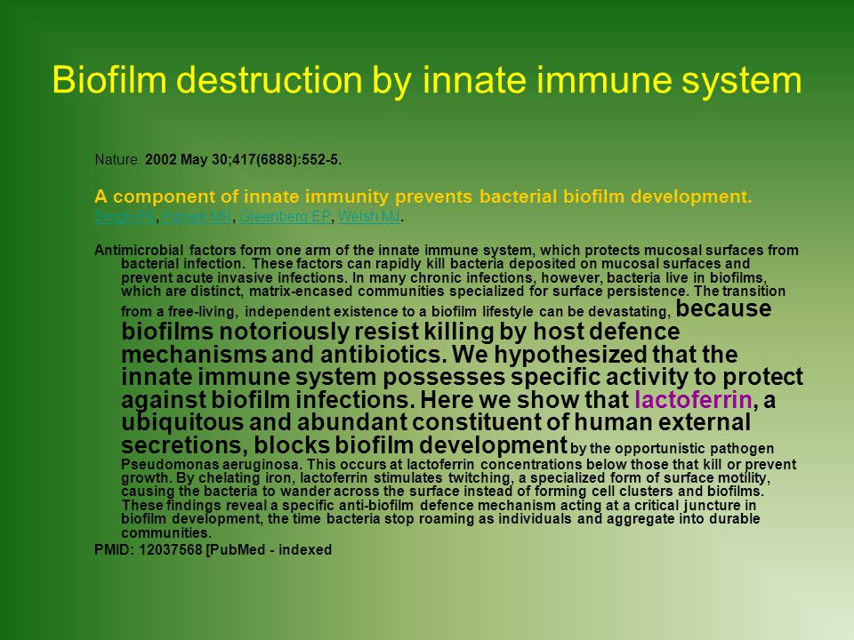 Biofilm destruction by innate immune system Nature.