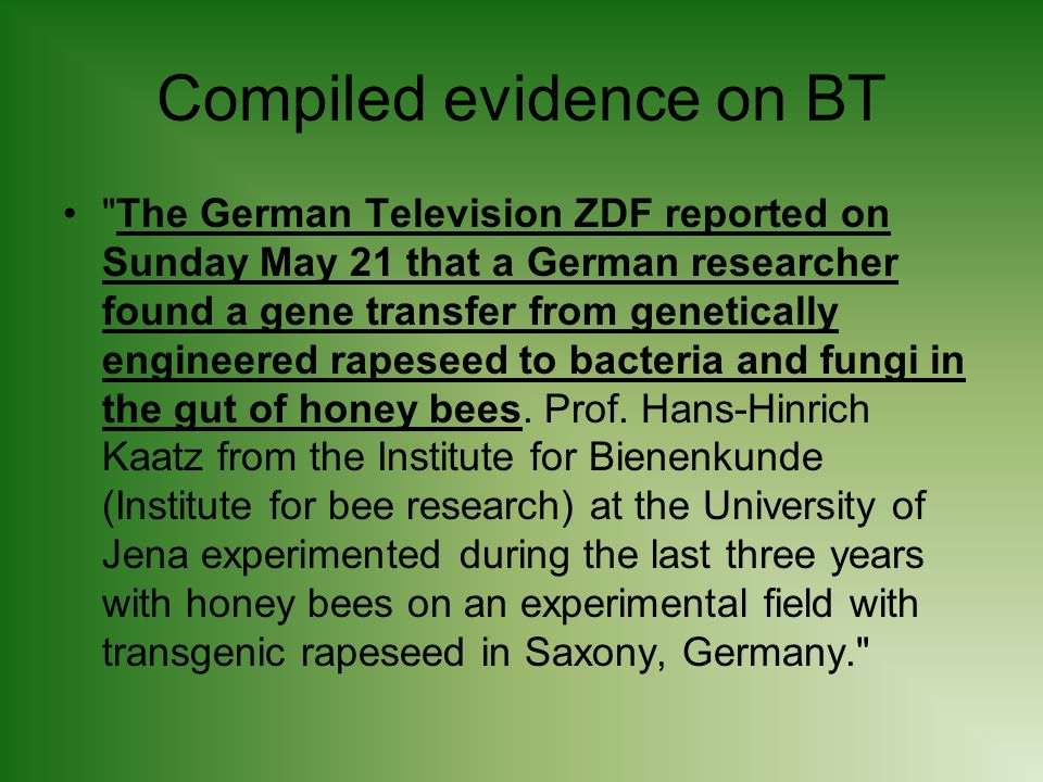 Compiled evidence on BT The German Television ZDF reported on Sunday May 21 that a German researcher found a gene transfer from genetically engineered rapeseed to bacteria and fungi in the gut of honey bees.