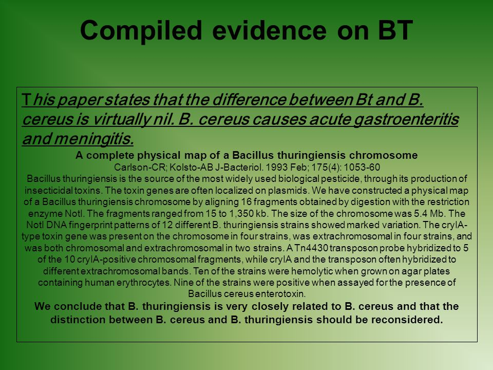 Compiled evidence on BT This paper states that the difference between Bt and B.
