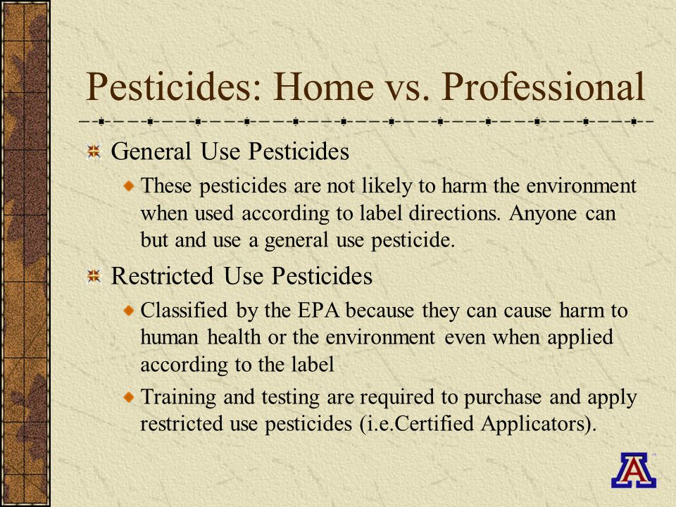 Pesticides: Home vs.