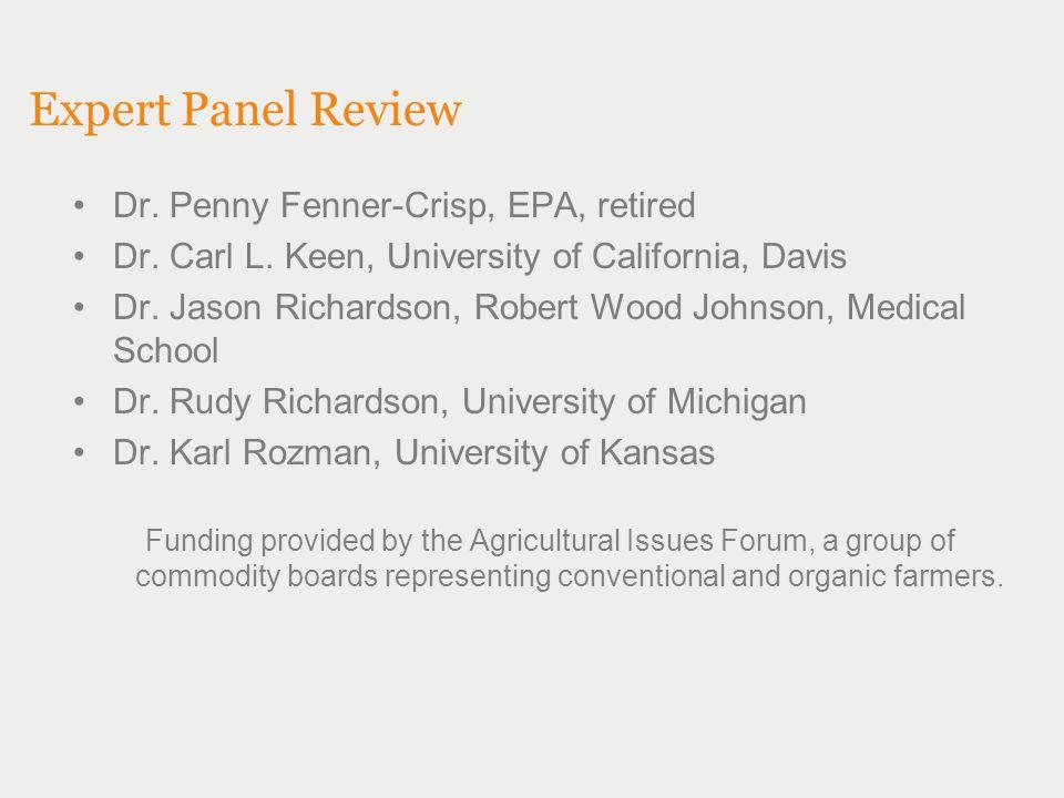Expert Panel Review Dr. Penny Fenner-Crisp, EPA, retired Dr. Carl L. Keen, University of California, Davis Dr. Jason Richardson, Robert Wood Johnson,
