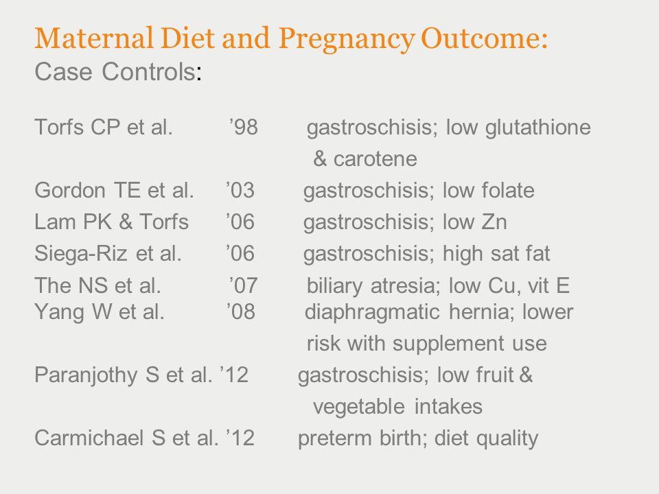 Maternal Diet and Pregnancy Outcome: Case Controls: Torfs CP et al. '98 gastroschisis; low glutathione & carotene Gordon TE et al. '03 gastroschisis;