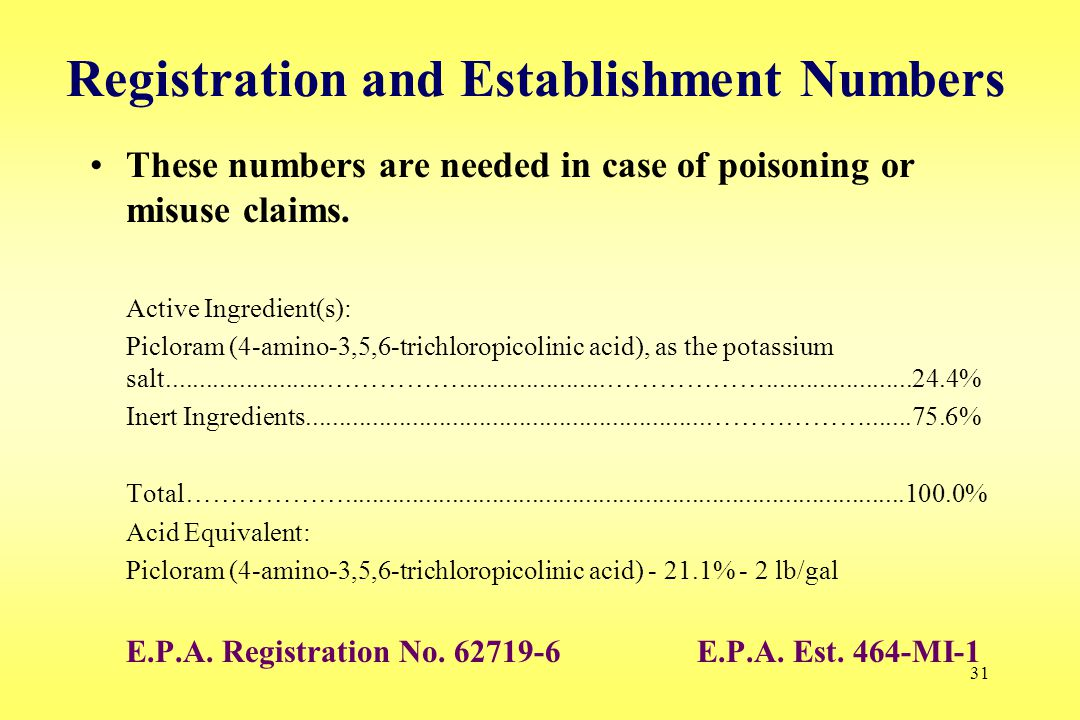 31 Registration and Establishment Numbers These numbers are needed in case of poisoning or misuse claims. Active Ingredient(s): Picloram (4-amino-3,5,