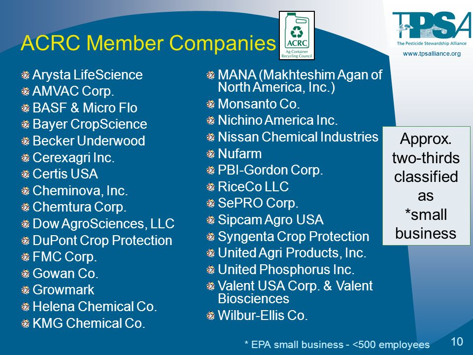 www.tpsalliance.org 10 Arysta LifeScience AMVAC Corp. BASF & Micro Flo Bayer CropScience Becker Underwood Cerexagri Inc. Certis USA Cheminova, Inc. Ch