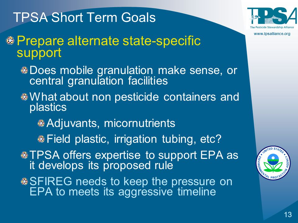 www.tpsalliance.org 13 TPSA Short Term Goals Prepare alternate state-specific support Does mobile granulation make sense, or central granulation facil