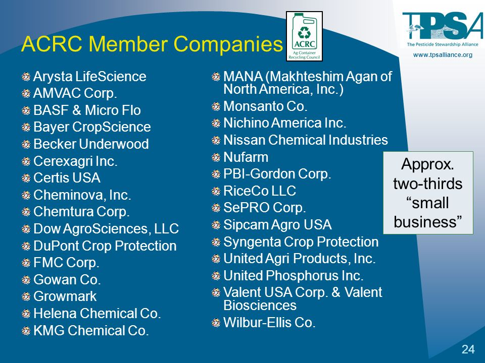 www.tpsalliance.org 24 Arysta LifeScience AMVAC Corp. BASF & Micro Flo Bayer CropScience Becker Underwood Cerexagri Inc. Certis USA Cheminova, Inc. Ch