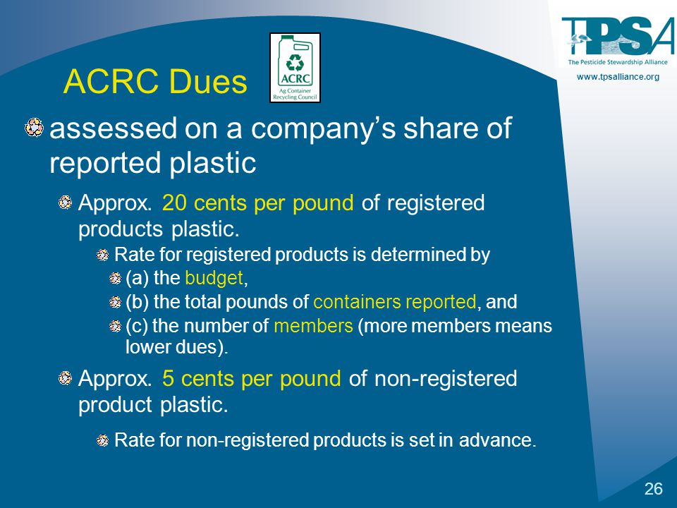 www.tpsalliance.org 26 assessed on a company's share of reported plastic Approx. 20 cents per pound of registered products plastic. Rate for registere