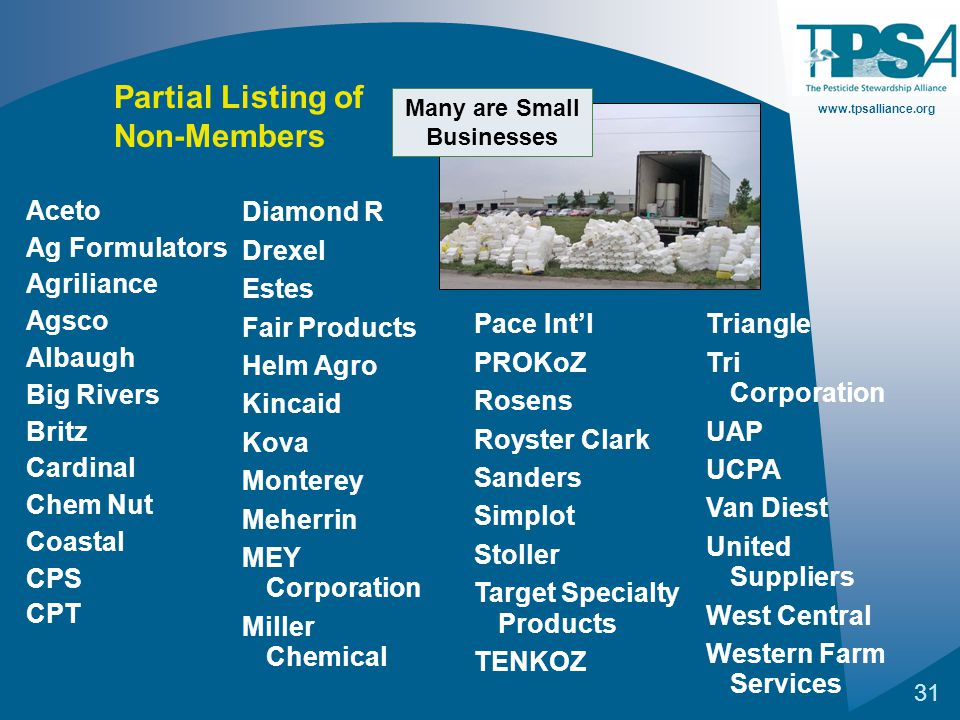 www.tpsalliance.org 31 Aceto Ag Formulators Agriliance Agsco Albaugh Big Rivers Britz Cardinal Chem Nut Coastal CPS CPT Partial Listing of Non-Members Diamond R Drexel Estes Fair Products Helm Agro Kincaid Kova Monterey Meherrin MEY Corporation Miller Chemical Pace Int'l PROKoZ Rosens Royster Clark Sanders Simplot Stoller Target Specialty Products TENKOZ Triangle Tri Corporation UAP UCPA Van Diest United Suppliers West Central Western Farm Services Many are Small Businesses