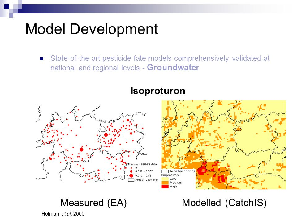 Model Development State-of-the-art pesticide fate models comprehensively validated at national and regional levels - Groundwater Measured (EA)Modelled (CatchIS) Isoproturon Holman et al, 2000