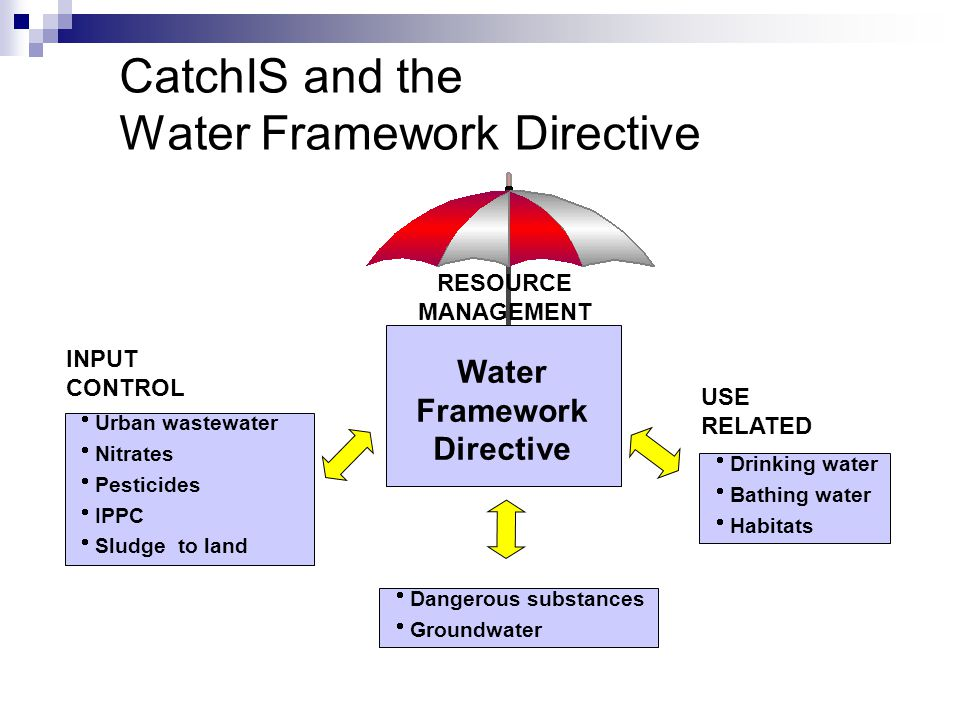 CatchIS and the Water Framework Directive  Urban wastewater  Nitrates  Pesticides  IPPC  Sludge to land INPUT CONTROL USE RELATED  Drinking wate