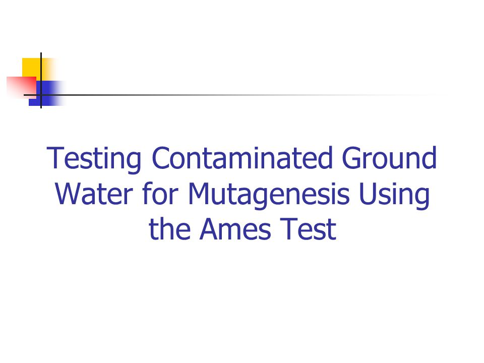 Testing Contaminated Ground Water for Mutagenesis Using the Ames Test