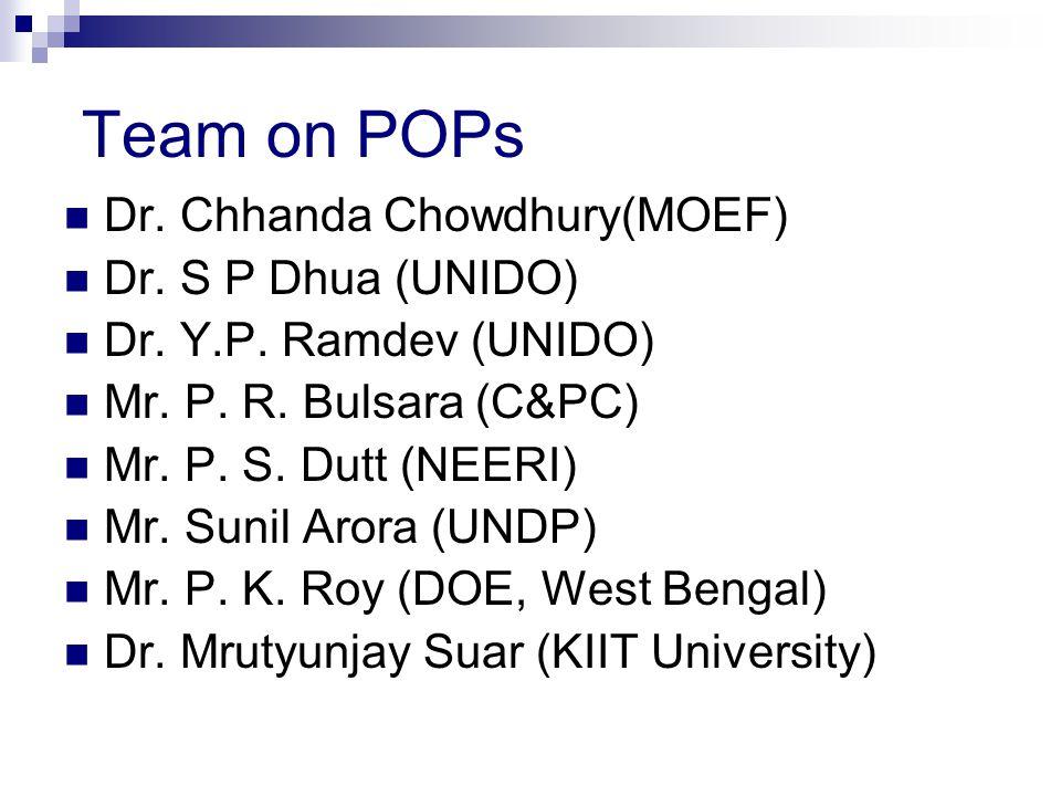 Team on POPs Dr. Chhanda Chowdhury(MOEF) Dr. S P Dhua (UNIDO) Dr.