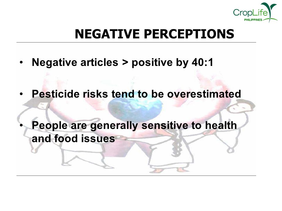 NEGATIVE PERCEPTIONS Negative articles > positive by 40:1 Pesticide risks tend to be overestimated People are generally sensitive to health and food issues