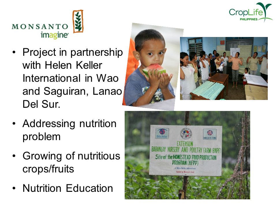 Project in partnership with Helen Keller International in Wao and Saguiran, Lanao Del Sur.