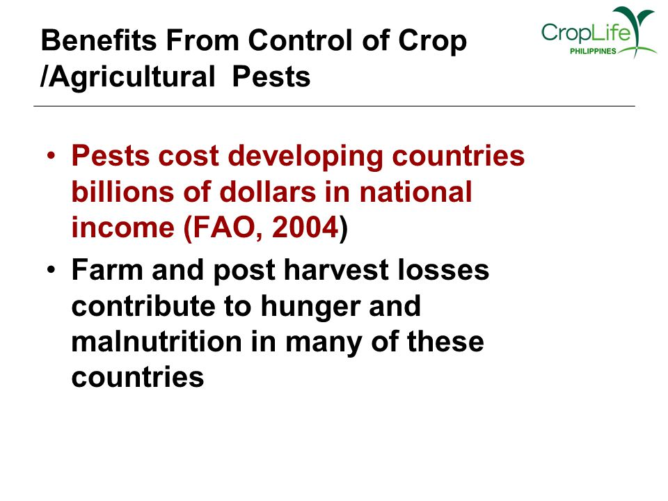 Benefits From Control of Crop /Agricultural Pests Pests cost developing countries billions of dollars in national income (FAO, 2004) Farm and post harvest losses contribute to hunger and malnutrition in many of these countries