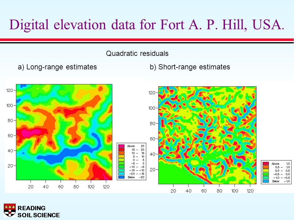 READING SOIL SCIENCE Digital elevation data for Fort A. P. Hill, USA. Quadratic residuals a) Long-range estimates b) Short-range estimates