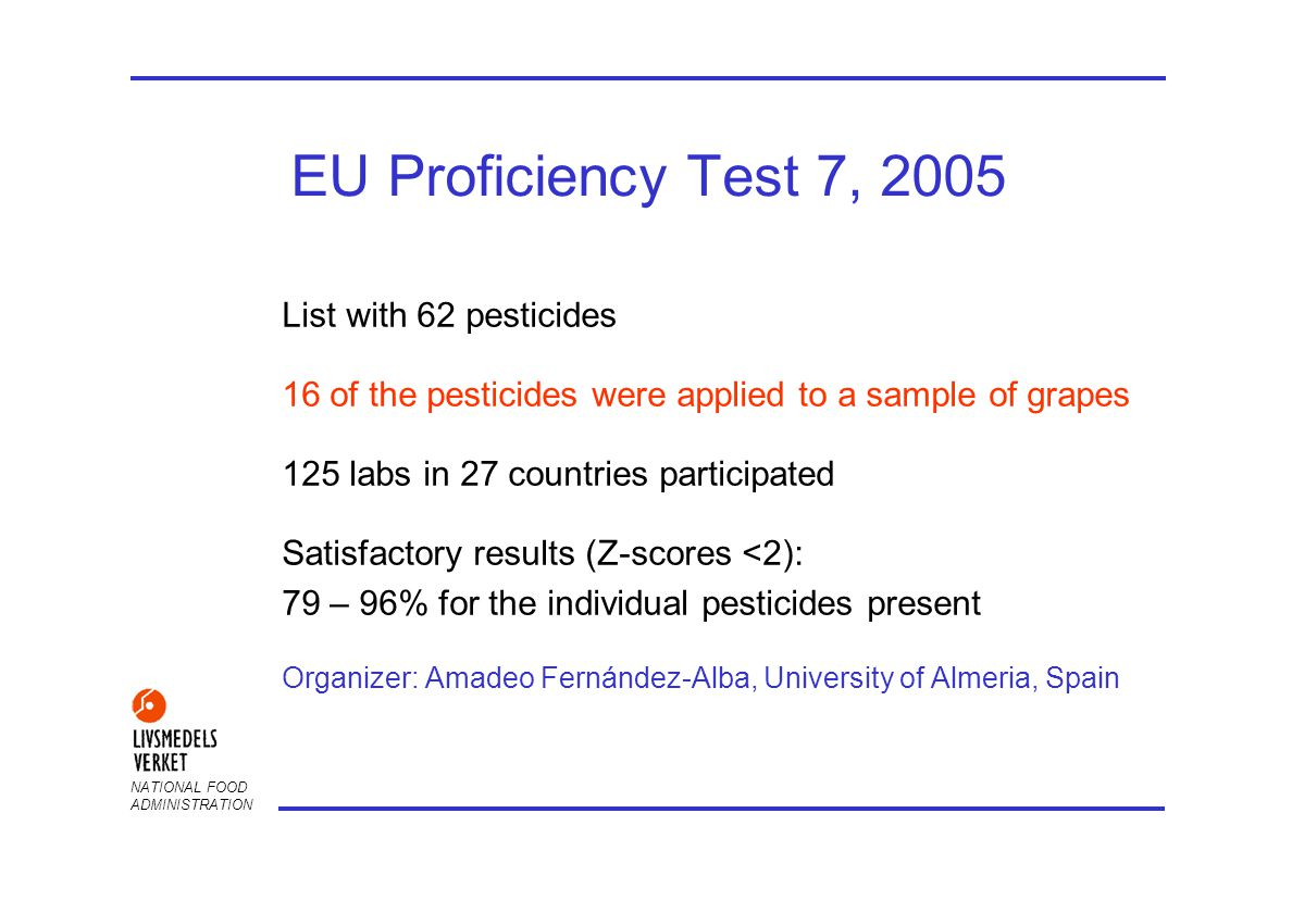 NATIONAL FOOD ADMINISTRATION EU Proficiency Test 7, 2005 List with 62 pesticides 16 of the pesticides were applied to a sample of grapes 125 labs in 27 countries participated Satisfactory results (Z-scores <2): 79 – 96% for the individual pesticides present Organizer: Amadeo Fernández-Alba, University of Almeria, Spain