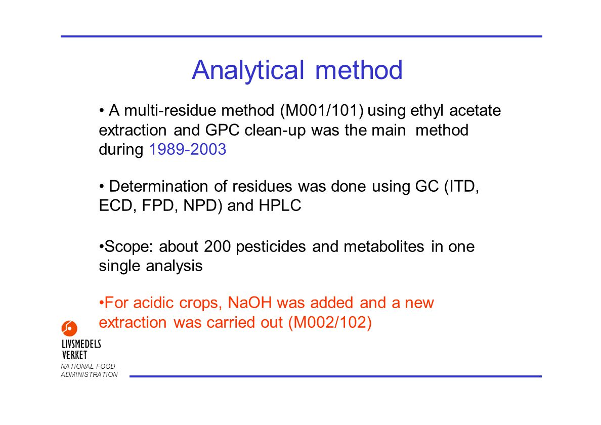 NATIONAL FOOD ADMINISTRATION Analytical method A multi-residue method (M001/101) using ethyl acetate extraction and GPC clean-up was the main method during 1989-2003 Determination of residues was done using GC (ITD, ECD, FPD, NPD) and HPLC Scope: about 200 pesticides and metabolites in one single analysis For acidic crops, NaOH was added and a new extraction was carried out (M002/102)