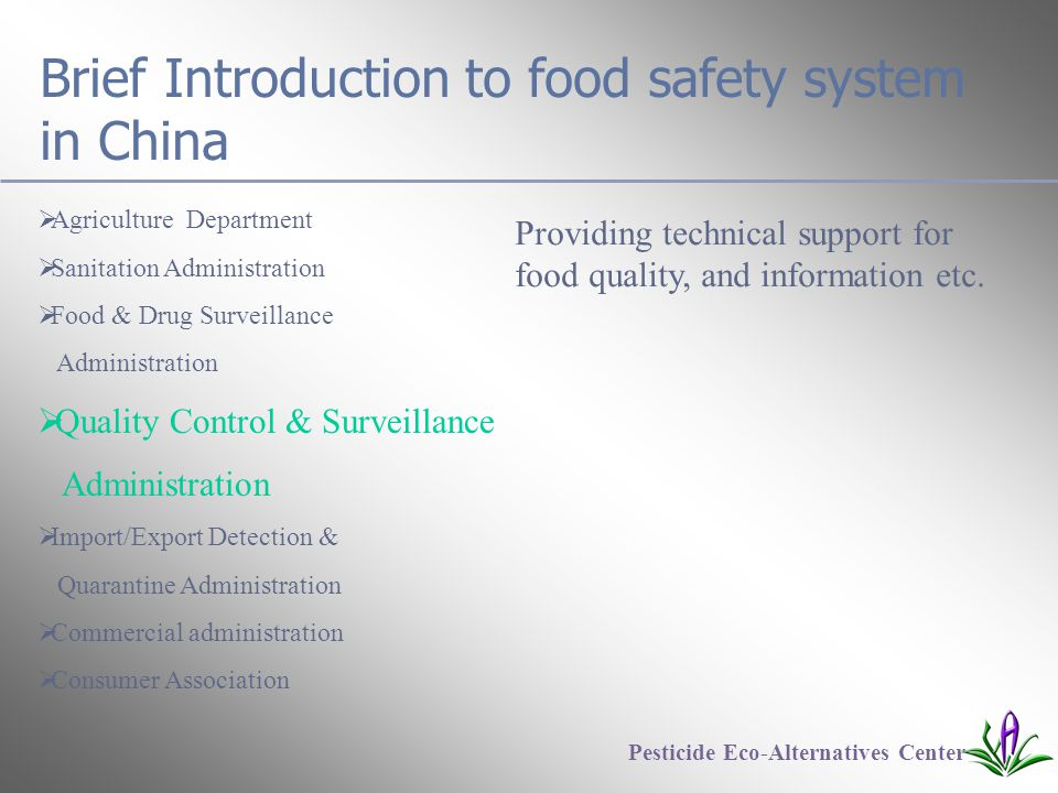 Brief Introduction to food safety system in China  Agriculture Department  Sanitation Administration  Food & Drug Surveillance Administration  Quality Control & Surveillance Administration  Import/Export Detection & Quarantine Administration  Commercial administration  Consumer Association Pesticide Eco-Alternatives Center Providing technical support for food quality, and information etc.