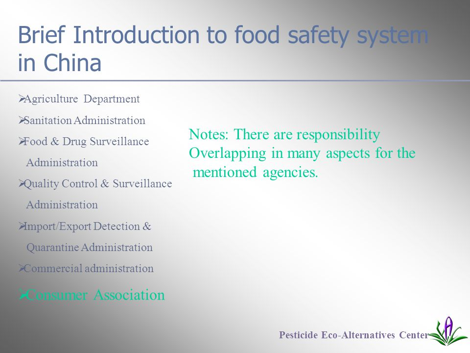 Brief Introduction to food safety system in China  Agriculture Department  Sanitation Administration  Food & Drug Surveillance Administration  Quality Control & Surveillance Administration  Import/Export Detection & Quarantine Administration  Commercial administration  Consumer Association Pesticide Eco-Alternatives Center Notes: There are responsibility Overlapping in many aspects for the mentioned agencies.
