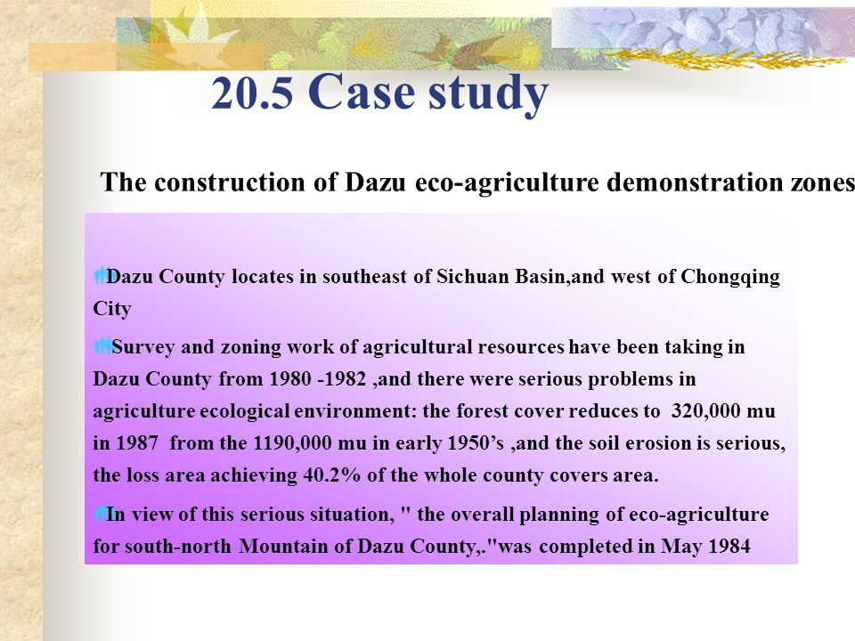 20.5 Case study The construction of Dazu eco-agriculture demonstration zones  Dazu County locates in southeast of Sichuan Basin,and west of Chongqing City  Survey and zoning work of agricultural resources have been taking in Dazu County from 1980 -1982,and there were serious problems in agriculture ecological environment: the forest cover reduces to 320,000 mu in 1987 from the 1190,000 mu in early 1950's,and the soil erosion is serious, the loss area achieving ​​ 40.2% of the whole county covers area.