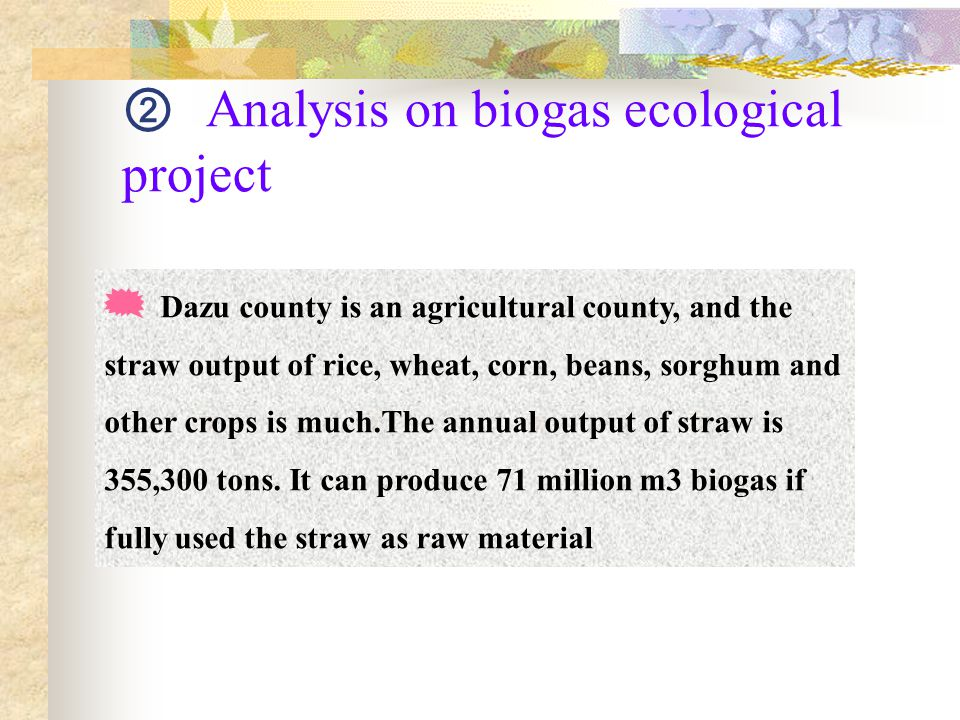 ② Analysis on biogas ecological project  Dazu county is an agricultural county, and the straw output of rice, wheat, corn, beans, sorghum and other crops is much.The annual output of straw is 355,300 tons.