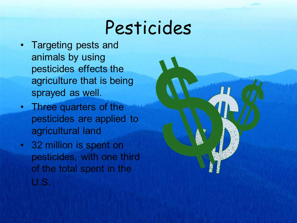 Herbicides: Atrazine Used primarily on cornfields to eliminate weeds that damage the crops Remains highly popular today because of its effectiveness It is moderately toxic to both humans and animals, possible negative long-term heath effects Has been found in groundwater in many different areas  damaging water supply