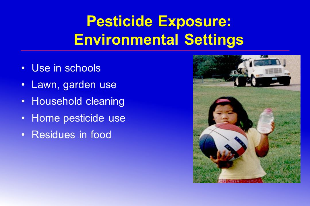 Pesticide Exposure: Environmental Settings Use in schools Lawn, garden use Household cleaning Home pesticide use Residues in food