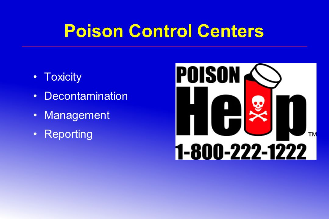 Poison Control Centers Toxicity Decontamination Management Reporting