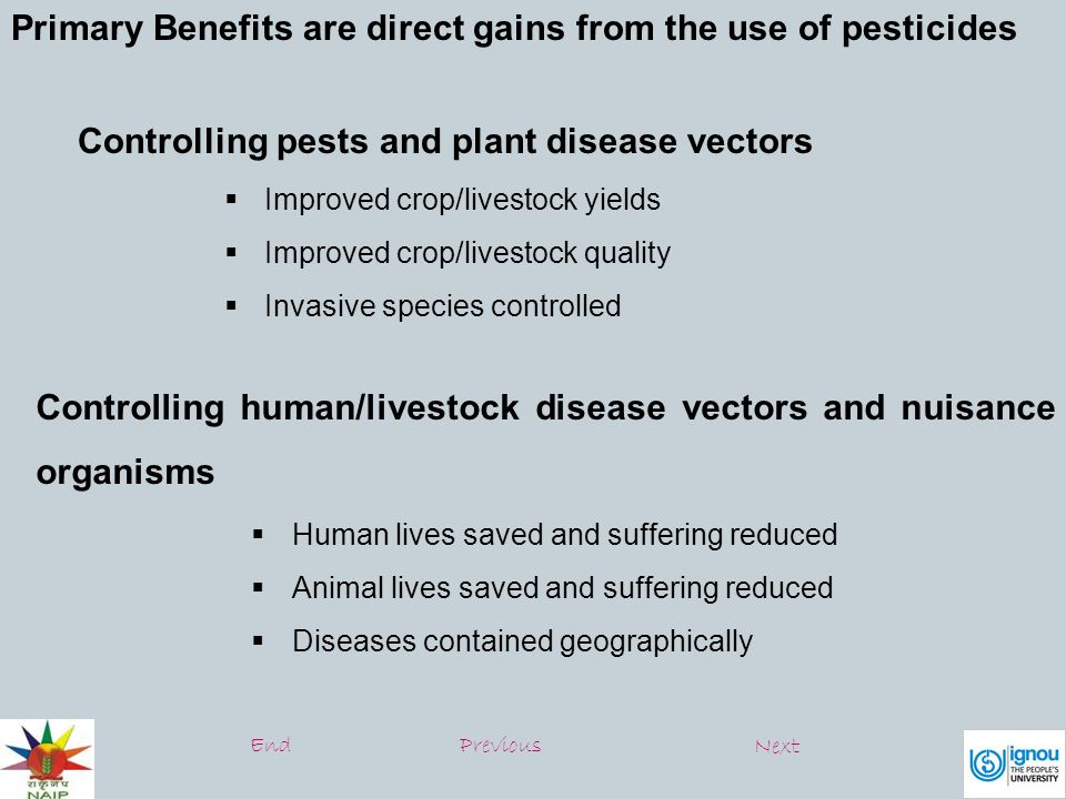 Prevent of control organisms that harm other human activities and structures  Drivers view unobstructed  Tree/brush/leaf hazards prevented  Wooden structures protected Secondary Benefits – are effects that are more long term Community benefits  Farm and agribusiness revenues  Nutrition and health improved  Food safety and security EndPrevious Next