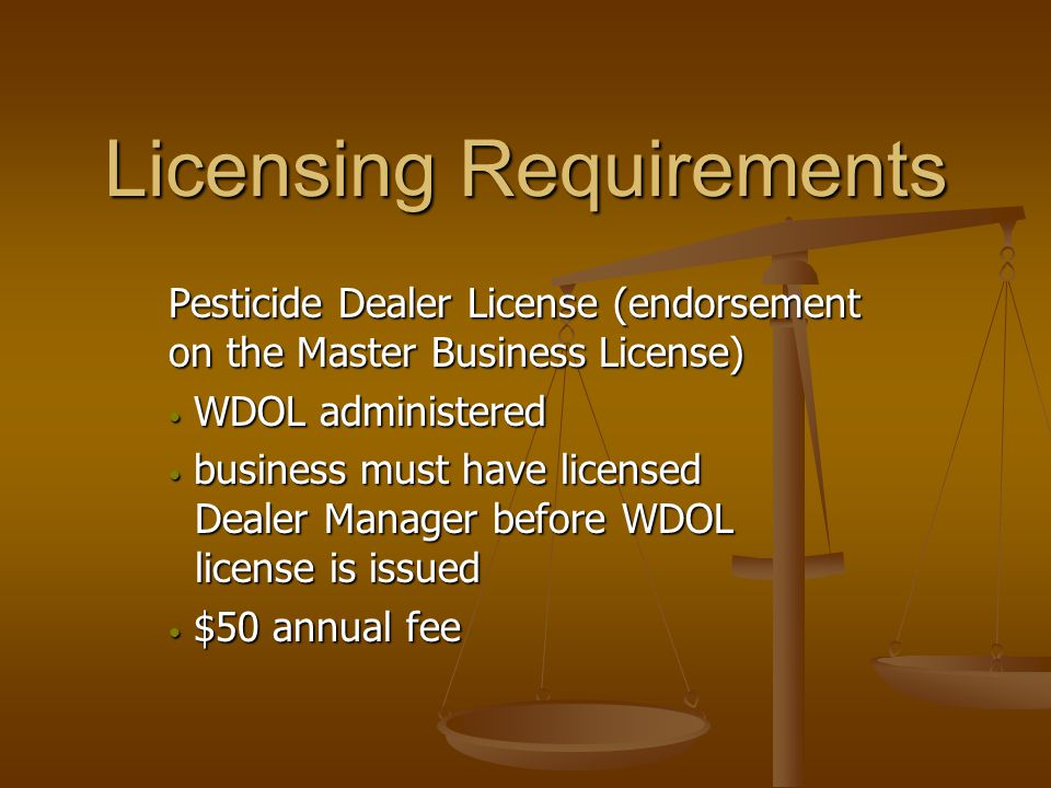 Sales Verification The Dealer Manager, on site during any transaction, must verify that the purchaser of any Federal or State RUP, has a current, valid license has a current, valid license with the appropriate category endorsements with the appropriate category endorsements