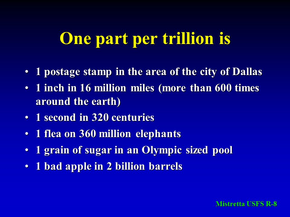 One part per trillion is 1 postage stamp in the area of the city of Dallas1 postage stamp in the area of the city of Dallas 1 inch in 16 million miles