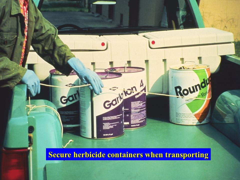 Secure herbicide containers when transporting