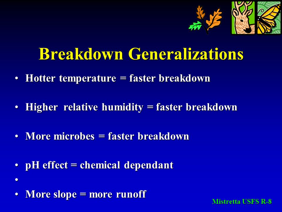 Breakdown Generalizations Hotter temperature = faster breakdownHotter temperature = faster breakdown Higher relative humidity = faster breakdownHigher