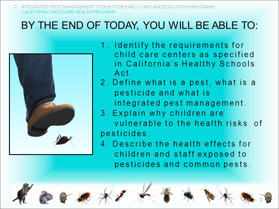 INTEGRATED PEST MANAGEMENT TOOLKIT FOR EARLY CARE AND EDUCATION PROGRAMS CALIFORNIA CHILDCARE HEALTH PROGRAM BY THE END OF TODAY, YOU WILL BE ABLE TO: 1.Identify the requirements for child care centers as specified in California's Healthy Schools Act.