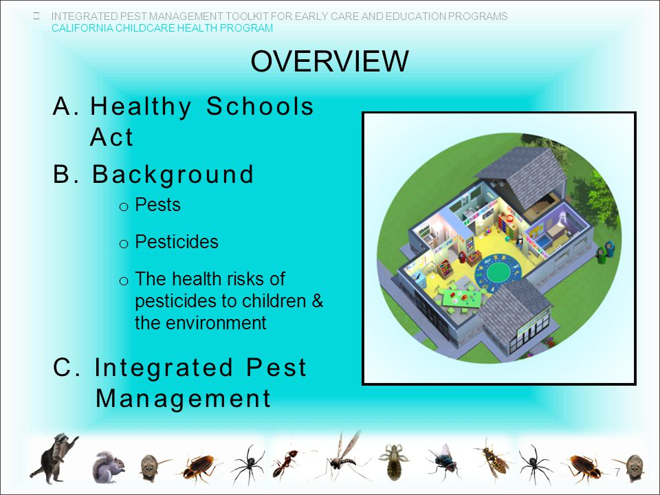 INTEGRATED PEST MANAGEMENT TOOLKIT FOR EARLY CARE AND EDUCATION PROGRAMS CALIFORNIA CHILDCARE HEALTH PROGRAM OVERVIEW A.Healthy Schools Act B.
