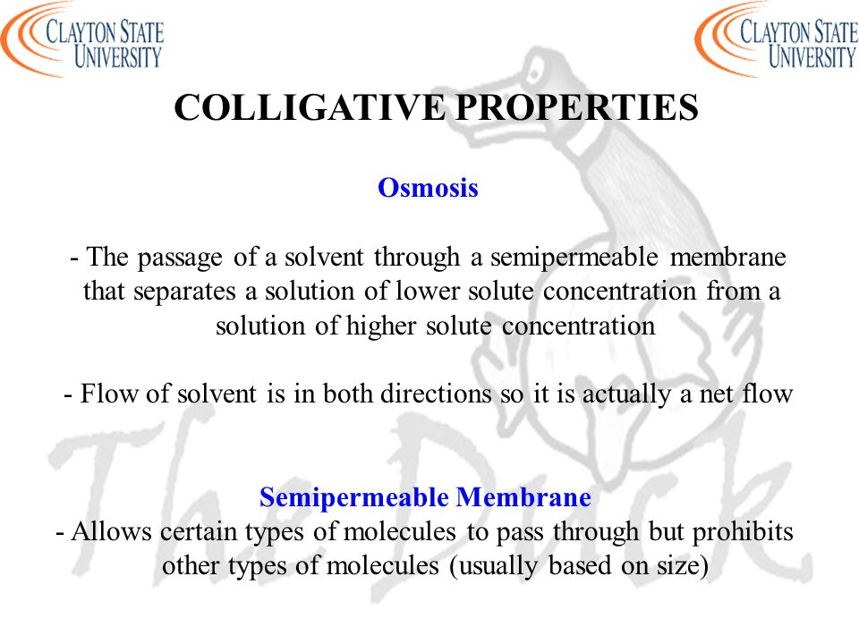 Osmosis - The passage of a solvent through a semipermeable membrane that separates a solution of lower solute concentration from a solution of higher