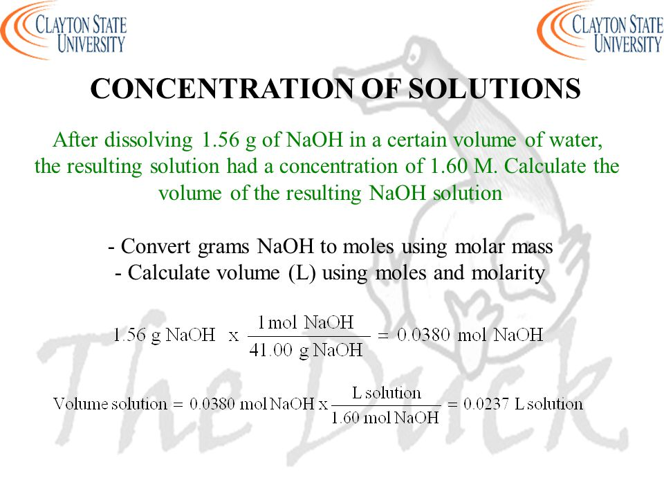 After dissolving 1.56 g of NaOH in a certain volume of water, the resulting solution had a concentration of 1.60 M. Calculate the volume of the result