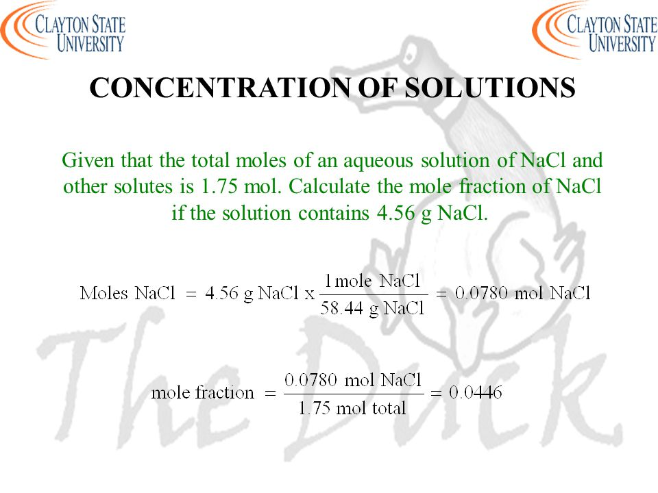 Given that the total moles of an aqueous solution of NaCl and other solutes is 1.75 mol. Calculate the mole fraction of NaCl if the solution contains